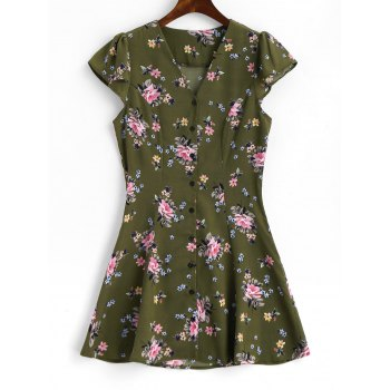 Button Up Cap Sleeve Floral Mini Dress - ARMY GREEN ARMY GREEN