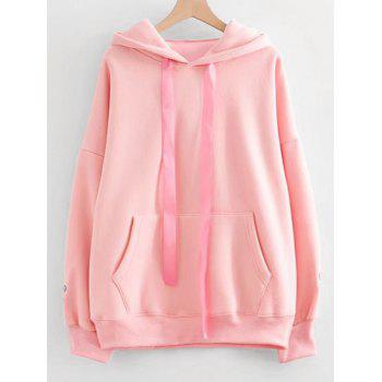 Contrast Ribbon Rabbit Patches Hoodie - PINK ONE SIZE