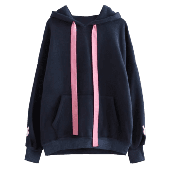 Contrast Ribbon Rabbit Patches Hoodie - PURPLISH BLUE ONE SIZE