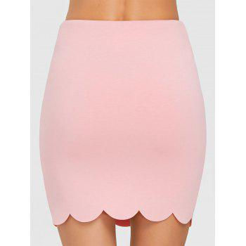 Scalloped Trim Mini Bodycon Skirt - WHITE XL