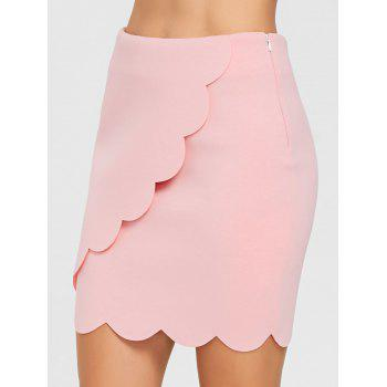 Scalloped Trim Mini Bodycon Skirt - WHITE 2XL