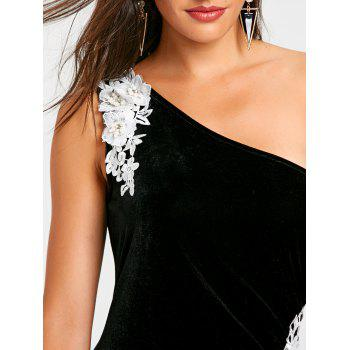 Applique One Shoulder Formal Dress - BLACK M
