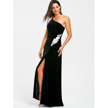 Applique One Shoulder Formal Dress - BLACK L