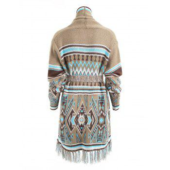 Aztec Geometric Fringed Knit Tunic Cardigan - COLORMIX M