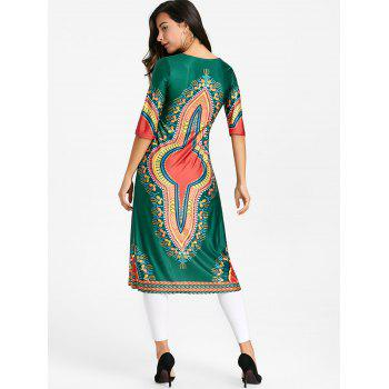 High Slit Tribal Printed Midi Dress - GREEN L