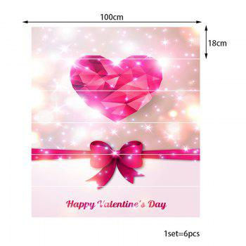 Valentine's Day Heart and Bowknot Print Enviromental Stair Stickers - PINK 100*18CM*6PCS