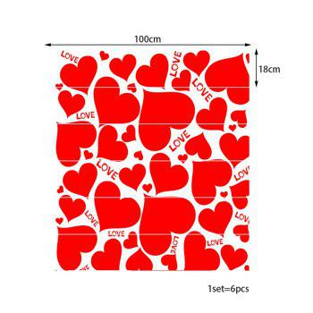 Heart Shape Print Decorative Stair Stickers - WATER RED 100*18CM*6PCS