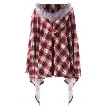 Plus Size Plaid Hooded Poncho Coat - RED 4XL