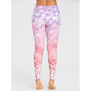 Yoga Fresh Geometric Pattern  Leggings - PINK M