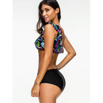 Floral One Shoulder Flounce Bikini Set - COLORMIX 2XL
