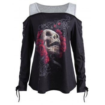 Plus Size Cold Shoulder Skull Rose T-shirt - BLACK 2XL