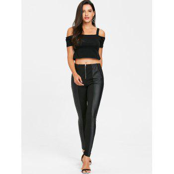 PU Leather Trim Fitted Pants - BLACK M