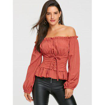 Lace Up Smocked Off The Shoulder Blouse - JACINTH ONE SIZE