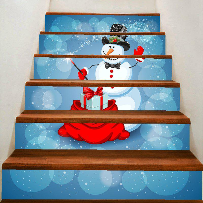 Christmas Snowman Magician Pattern Removable Stair Stickers - COLORFUL 100*18CM*6PCS