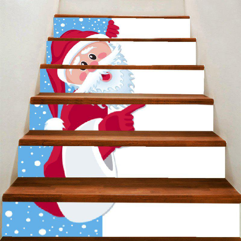 Christmas Beard Santa Claus Pattern Decorative Stair Stickers - COLORFUL 100*18CM*6PCS