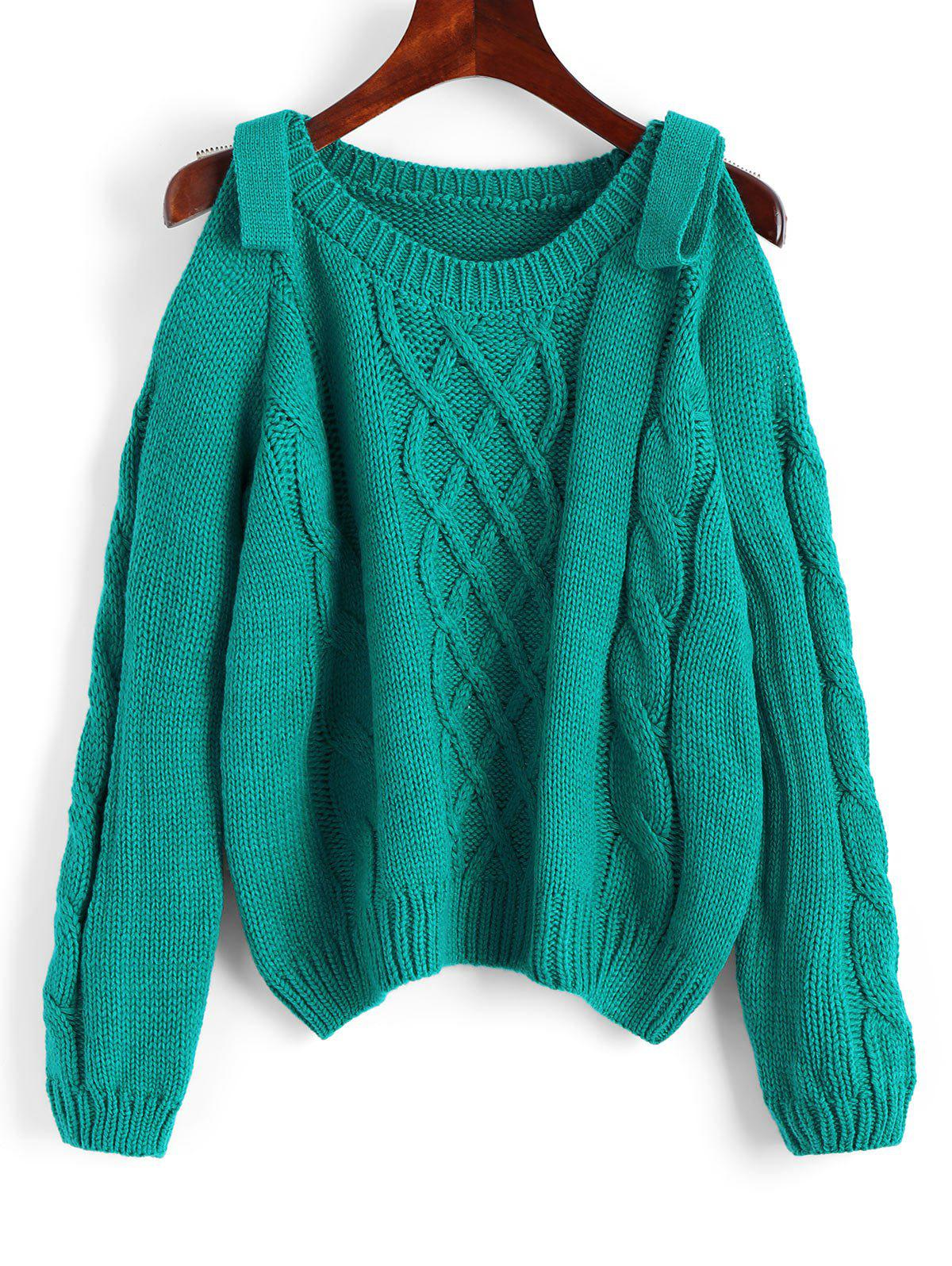 2018 Cold Shoulder Plain Cable Knit Sweater SEA GREEN ONE SIZE In ...