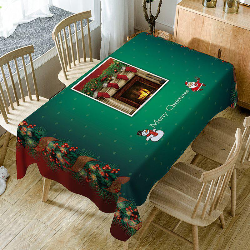 Christmas Fireplace Socks Print Waterproof Table Cloth - GREEN W54 INCH * L54 INCH