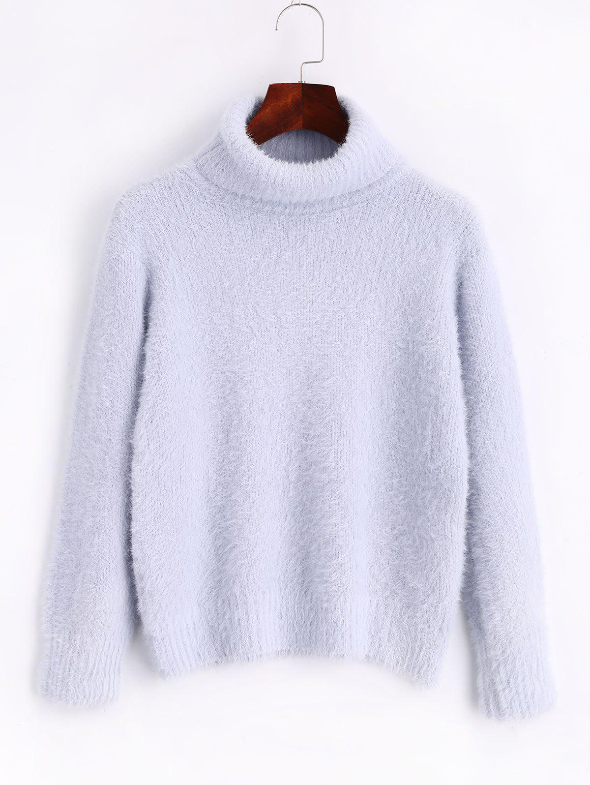 Turtleneck Mohair Pullover Sweater trendy irregular plaid printed pullover mohair sweater for women
