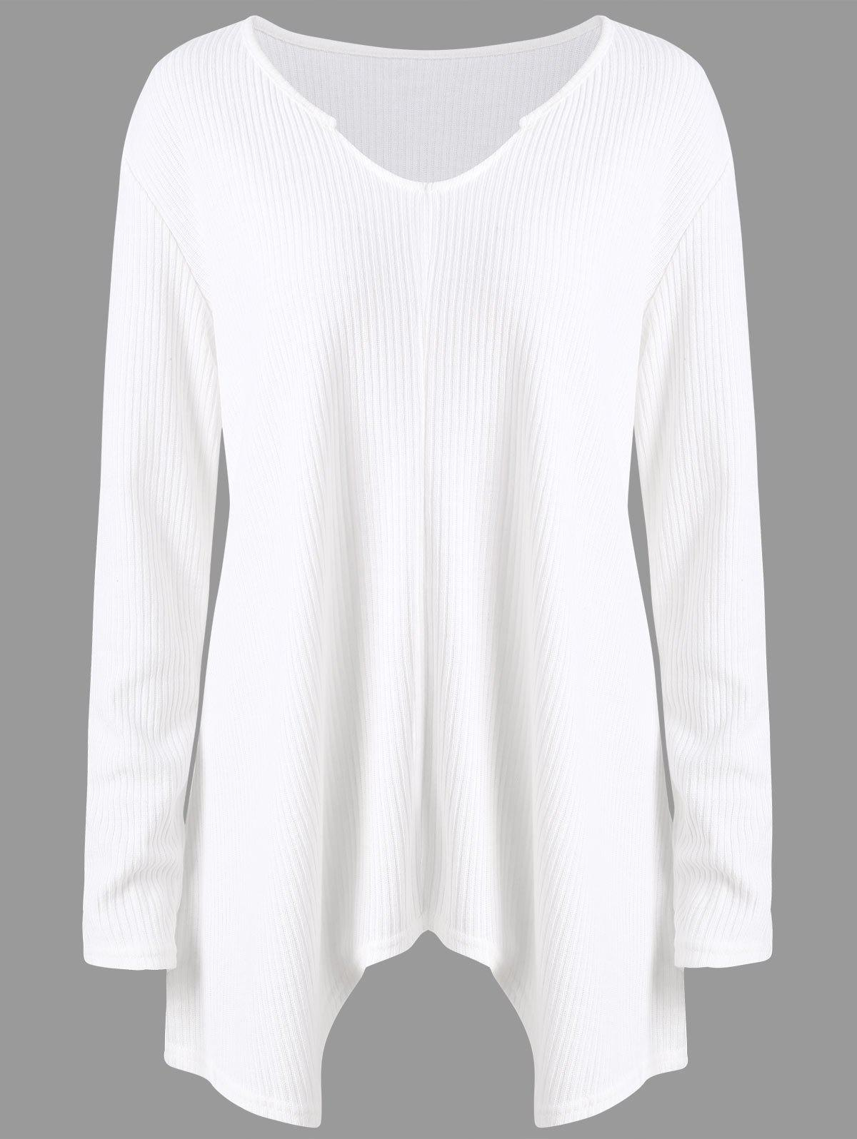 Plus Size  Ribbed Knit  Asymmetric Sweater - WHITE 5XL