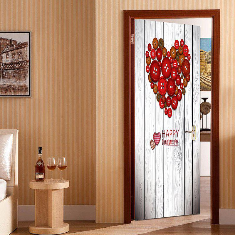 Button Heart Shape Decoration Door Cover Sticker - RED 38.5*200CM*2PCS