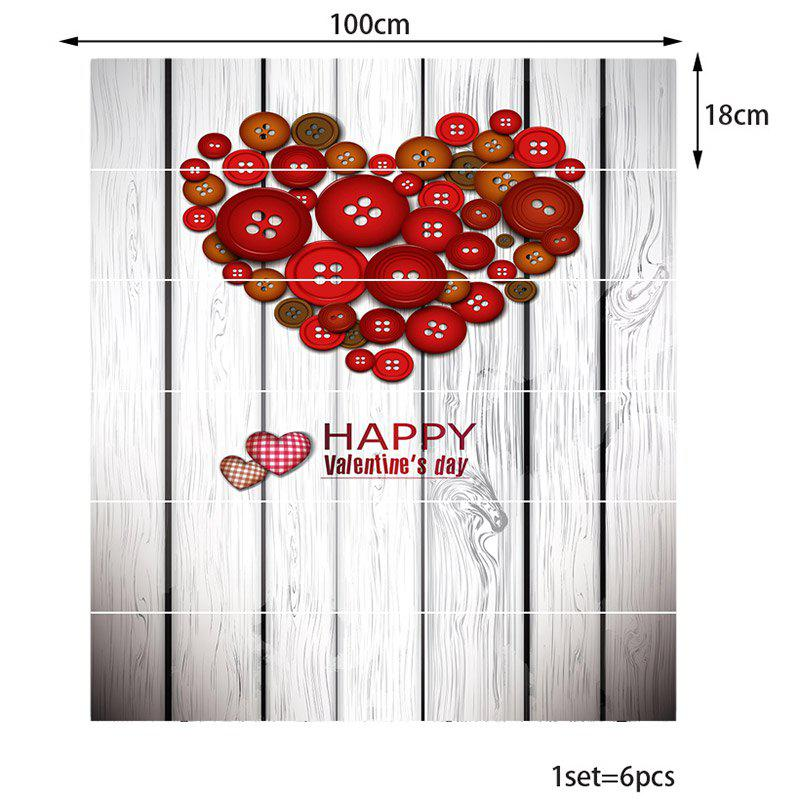 Button Heart Shape Decoration Stair Decals - RED BROWN 100*18CM*6PCS