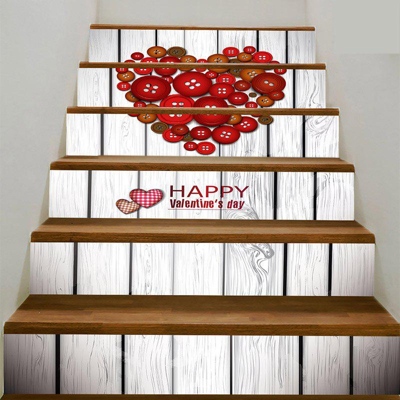 Décalques d'escalier en forme de coeur - Rouge Marron 100*18CM*6PCS