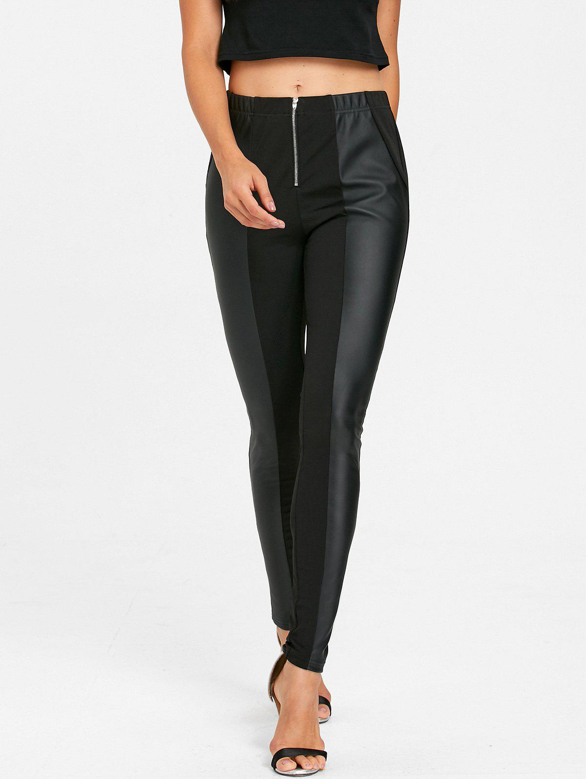 PU Leather Trim Fitted Pants - BLACK L