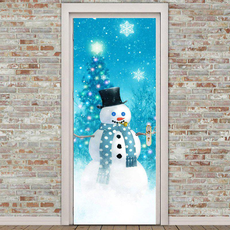 Christmas Snowman Tree Pattern Door Stickers - COLORFUL 38.5*200CM*2PCS