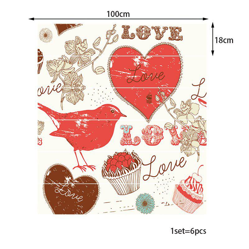 Love Heart and Dessert Pattern Stair Stickers - COLORFUL 100*18CM*6PCS
