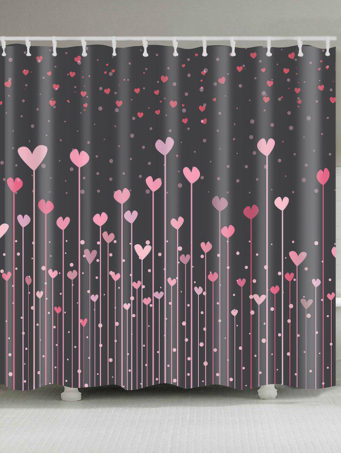 Waterproof Valentine's Day Hearts Printed Shower Curtain waterproof functions blackboard printed shower curtain