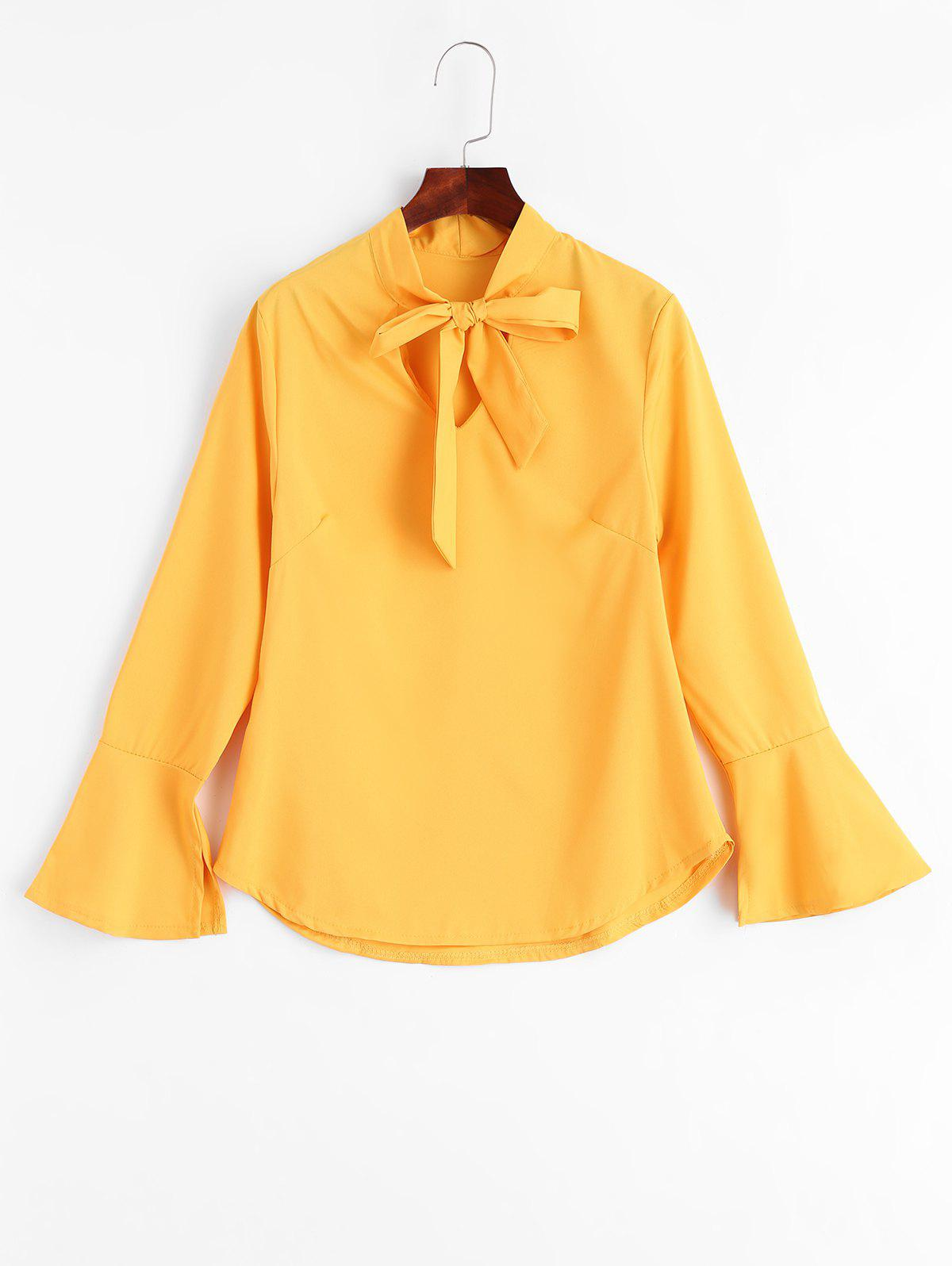 Slit Bell Sleeve Bow Tie Blouse bow tie detail striped blouse