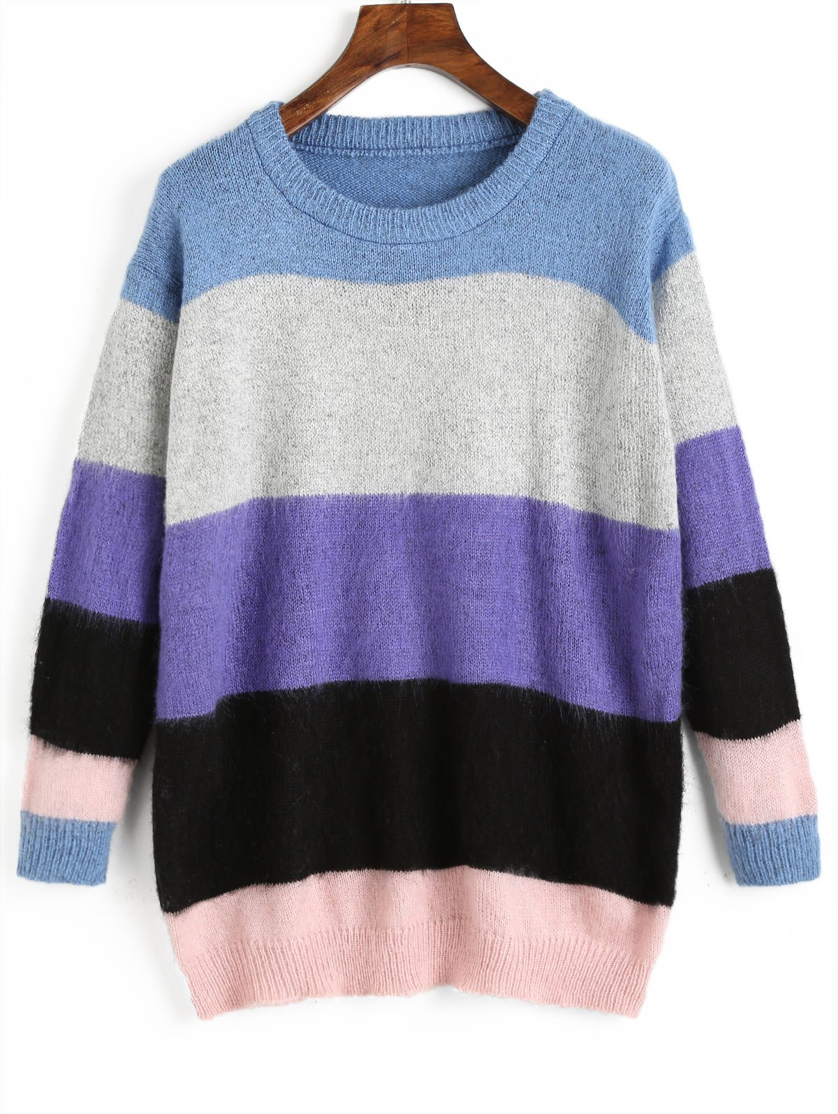 Pullover Color Block Tunic Sweater - multicolor COLOR ONE SIZE