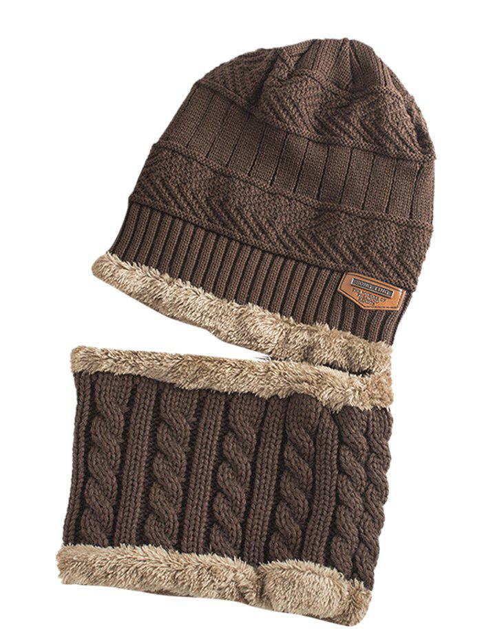 Label Embellished Thicken Knitted Beanie and Scarf maktec mt607