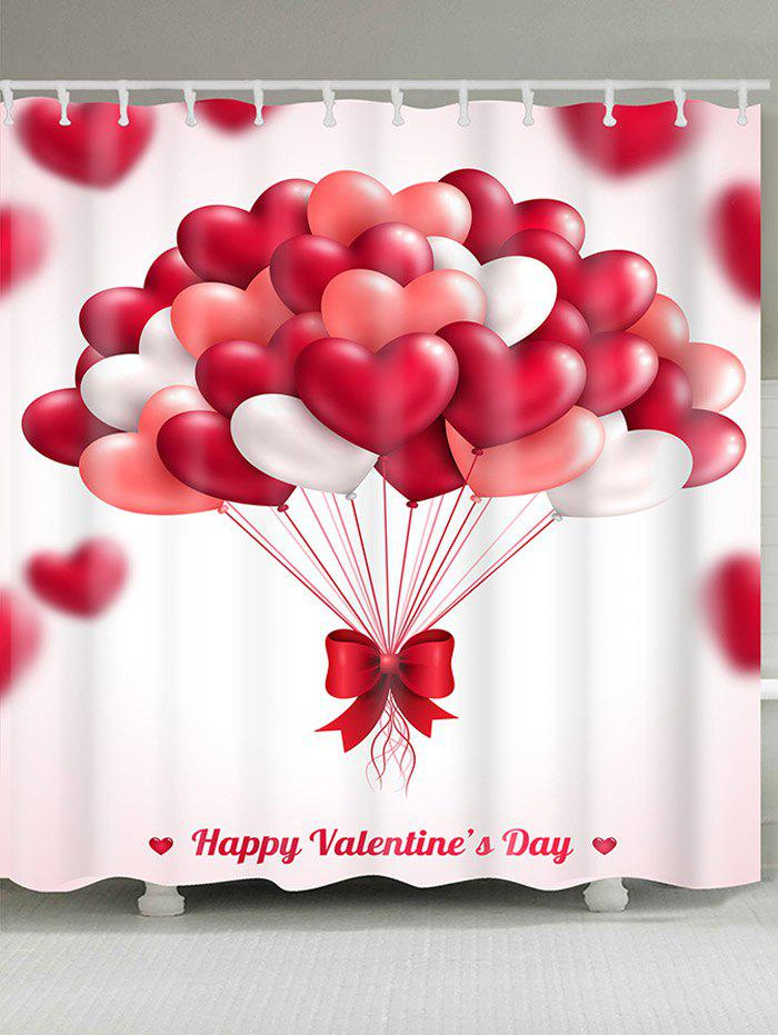 Heart Balloons Pattern Valentineu0027s Day Waterproof Shower Curtain   RED W71  INCH * L79 INCH