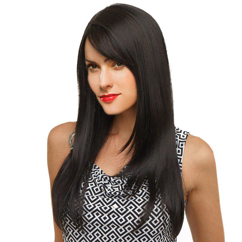 Long Oblique Bang Straight Human Hair Wig - JET BLACK