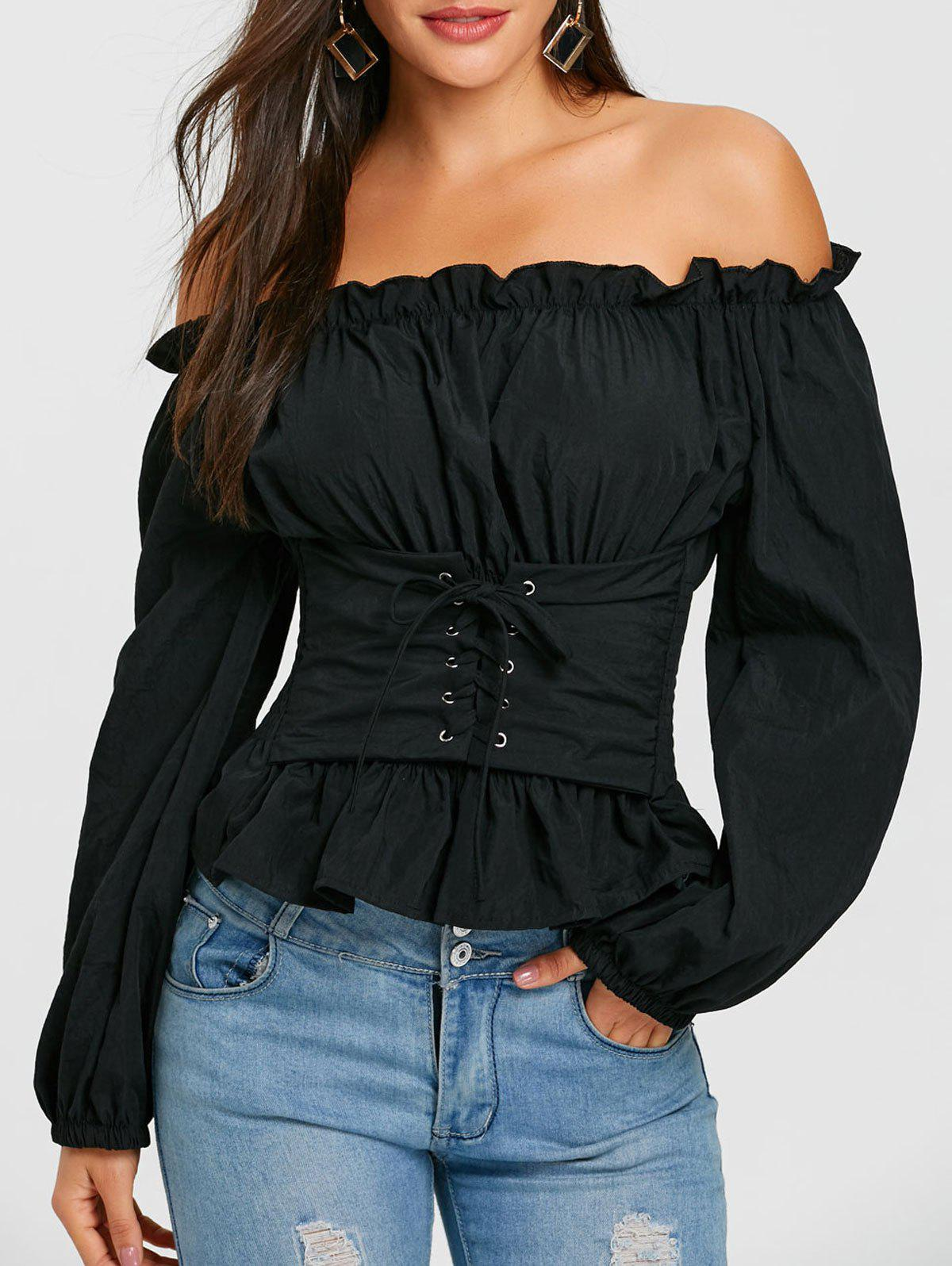 Lace Up Smocked Off The Shoulder Blouse - BLACK ONE SIZE