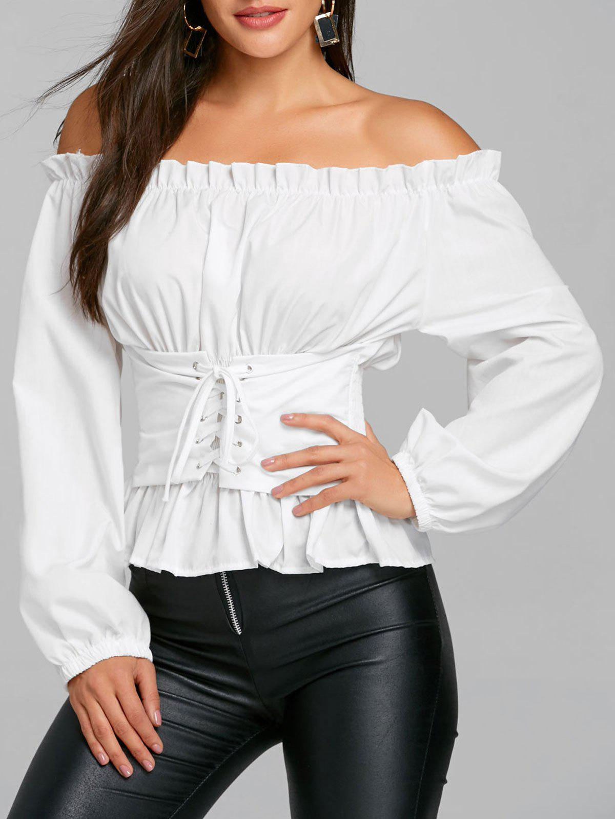 Lace Up Smocked Off The Shoulder Blouse