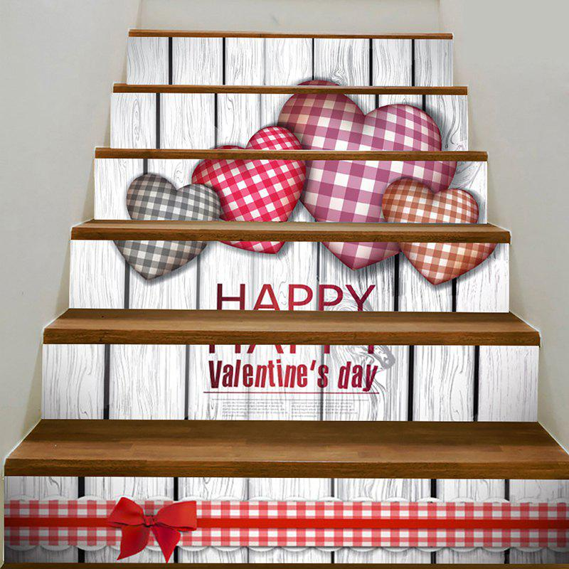 Valentine's Day Home Art Decal Heart Printed Removable Stair Stickers - COLORFUL 100*18CM*6PCS