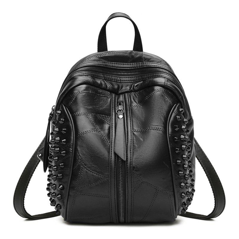 Faux Leather Portable Rivets Backpack - BLACK