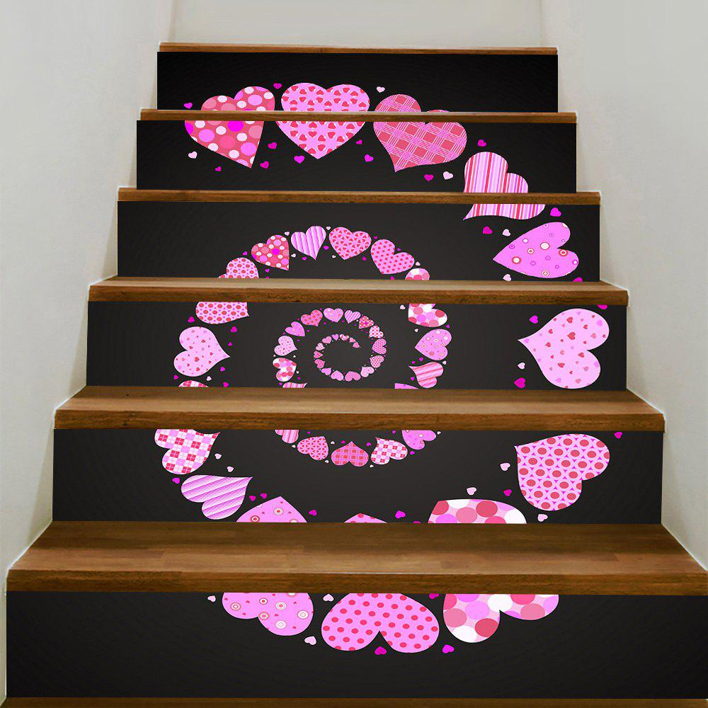 Valentine's Day Spiral Heart Pattern Decorative Stair Stickers - COLORFUL 100*18CM*6PCS