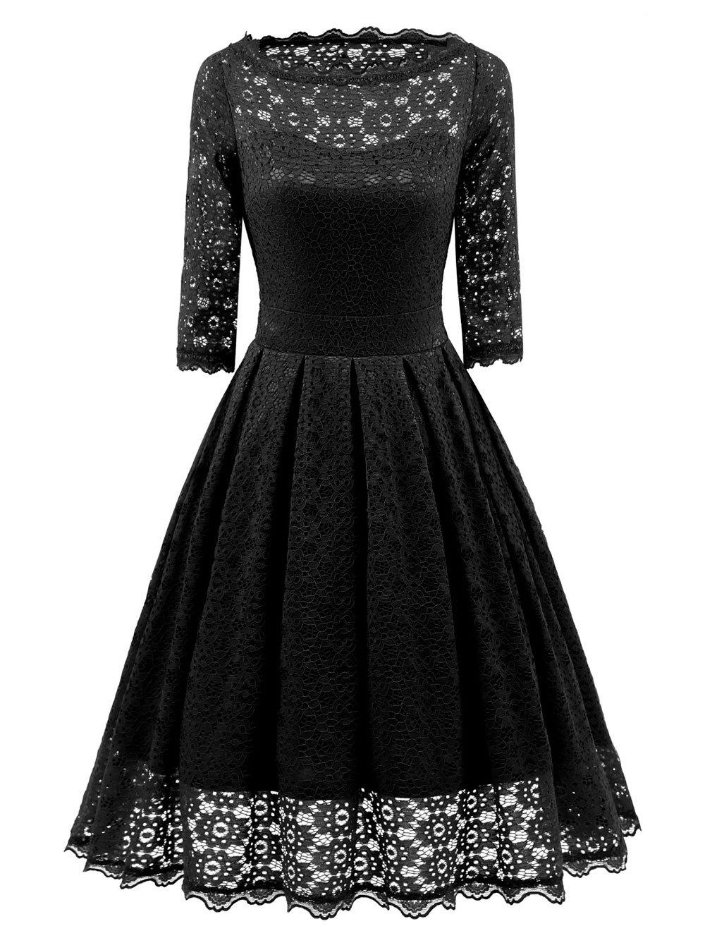 Vintage Party Lace Fit and Flare Dress - BLACK 2XL