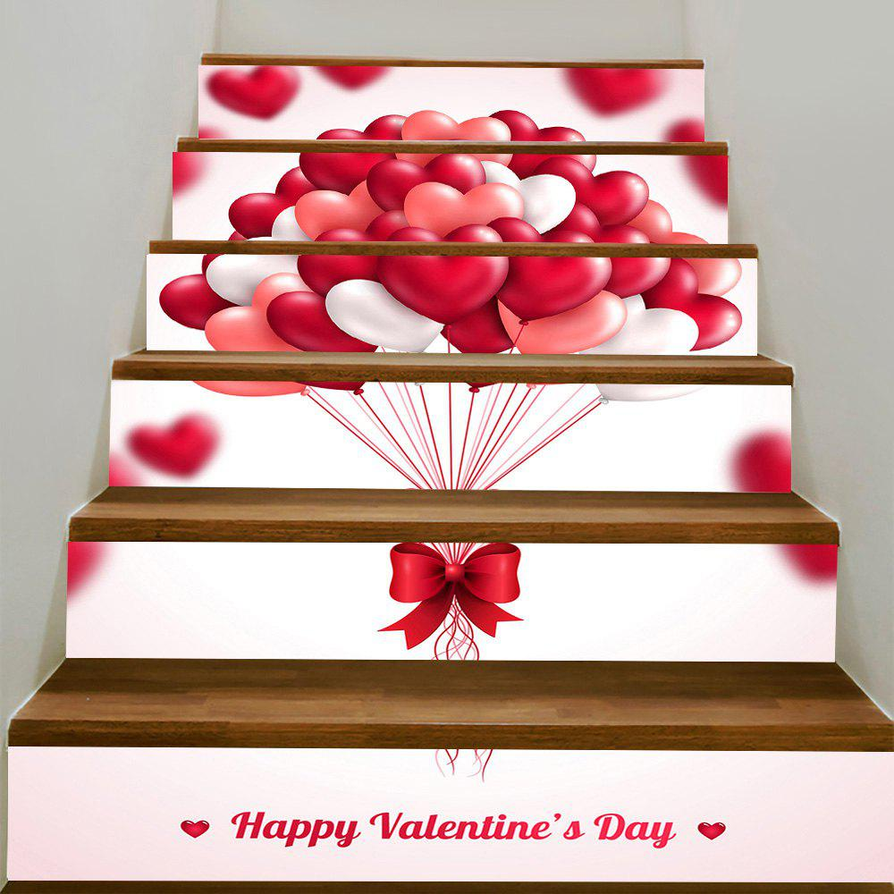 Romantic Heart Balloon Pattern Removable Stair Stickers - PINK 100*18CM*6PCS