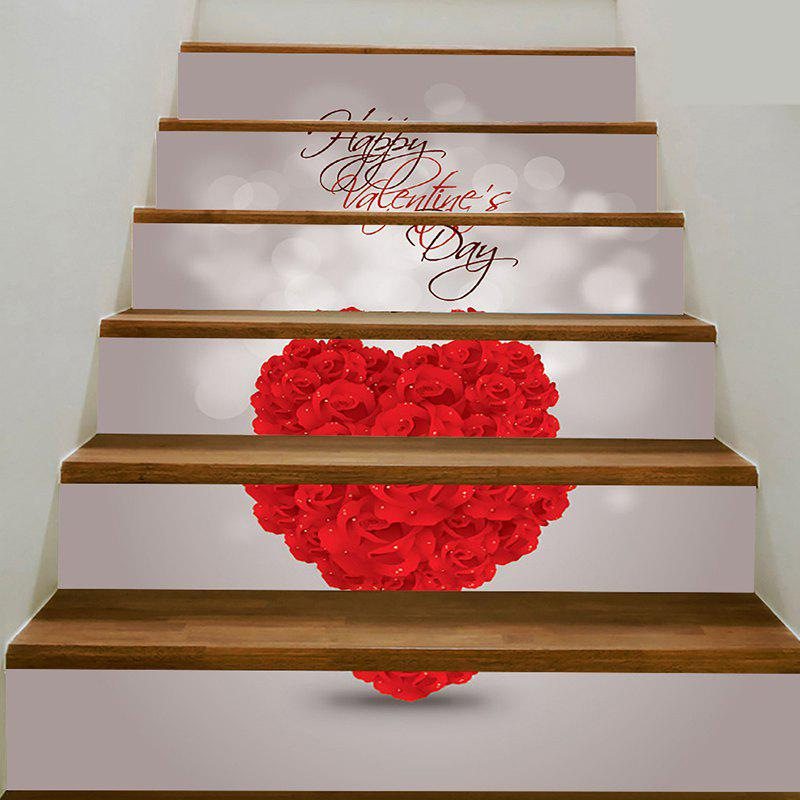 Valentine's Day Rose Heart Pattern Decorative Stair Stickers - RED 100*18CM*6PCS