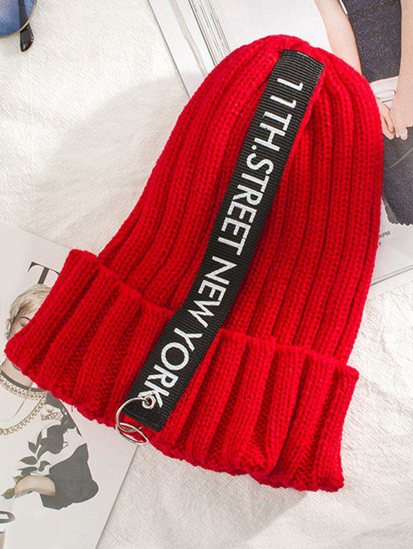 Outdoor Rings Embellished Thicken Knitted Beanie - RED