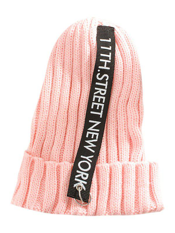 Outdoor Rings Embellished Thicken Knitted Beanie - PINK