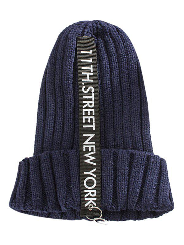 Outdoor Rings Embellished Thicken Knitted Beanie - CADETBLUE