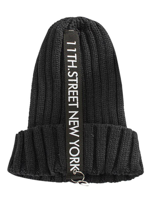 Outdoor Rings Embellished Thicken Knitted Beanie - BLACK