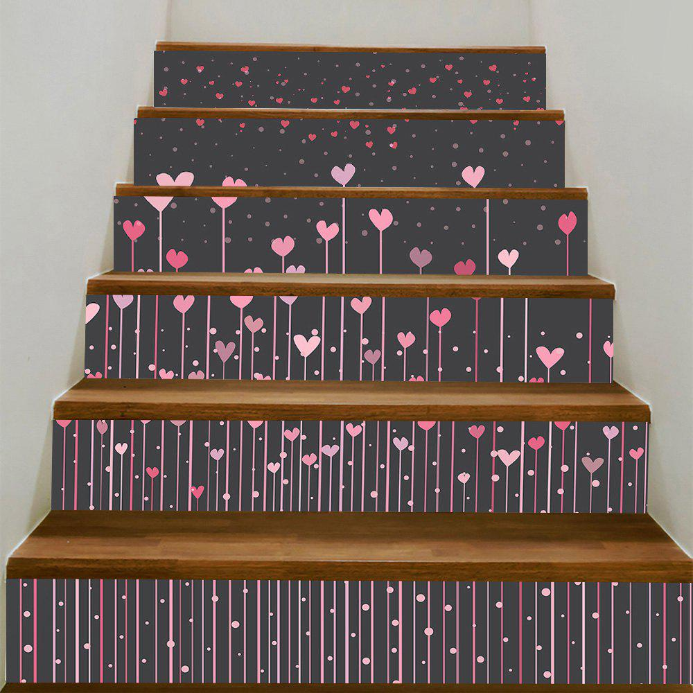 Hearts Hanging Printed Decorative Stair Stickers