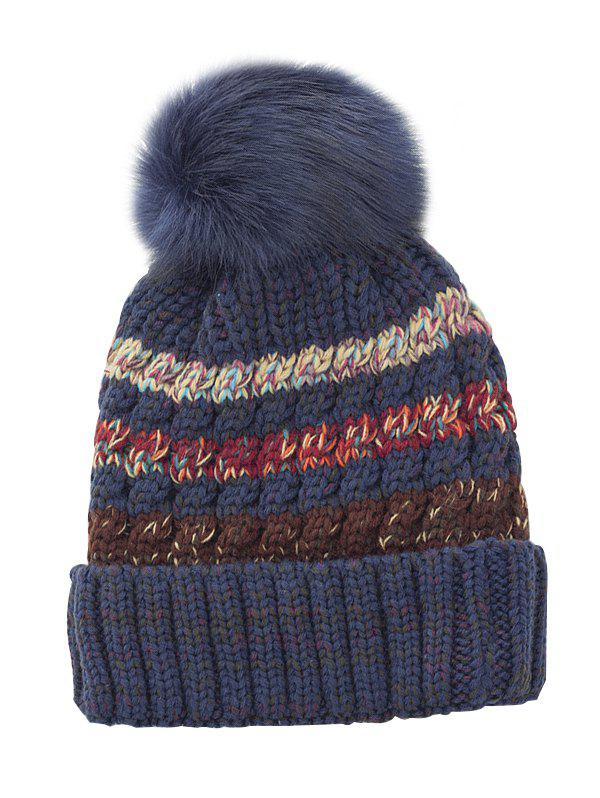 Soft Striped Pattern Slouchy Knitted Pom Beanie - CADETBLUE