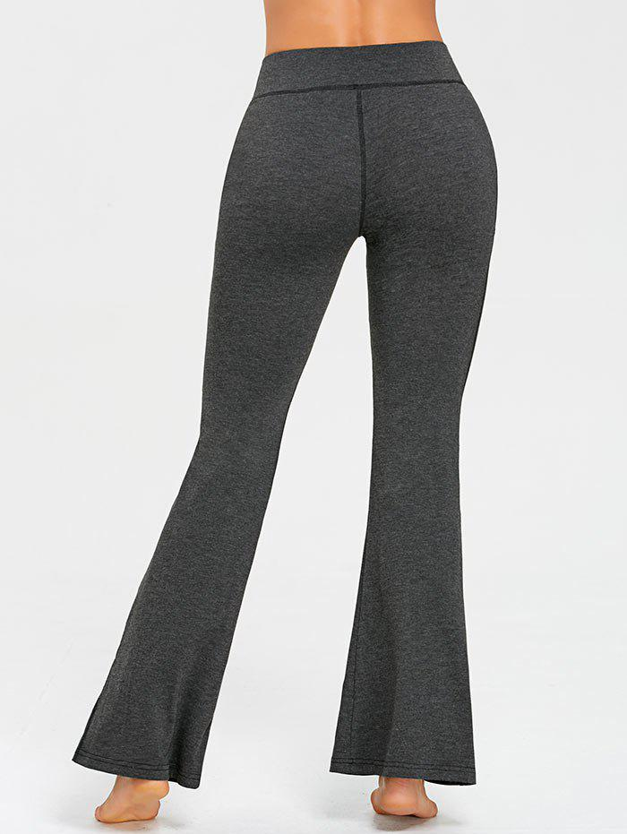 Contrast Stitches Trumpet Pants - DEEP GRAY XL